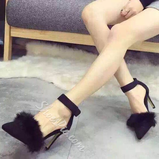 Shoespie Sexy Faux Fur Brimmed Pointed Toe Heels