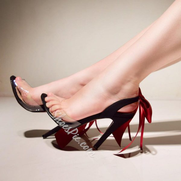 Shoespie Sexy Transparent Ribbon Stiletto Heel Dress Sandals