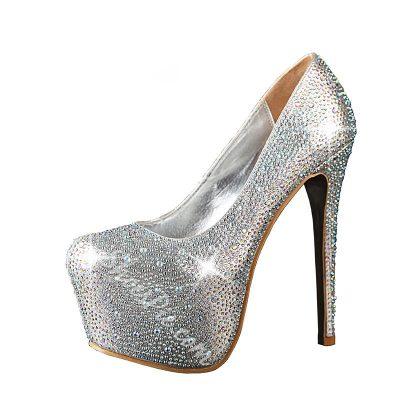 Shoespie Shining Rhinestone Round-toe Platform Heels