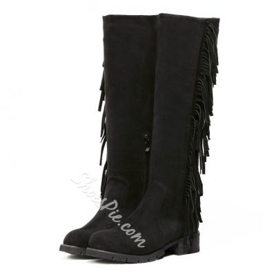 Shoespie Side Tassels Decoration Low Heel Knee High Boots