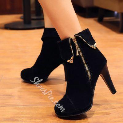 Shoespie Side Zipper Ankle Boots