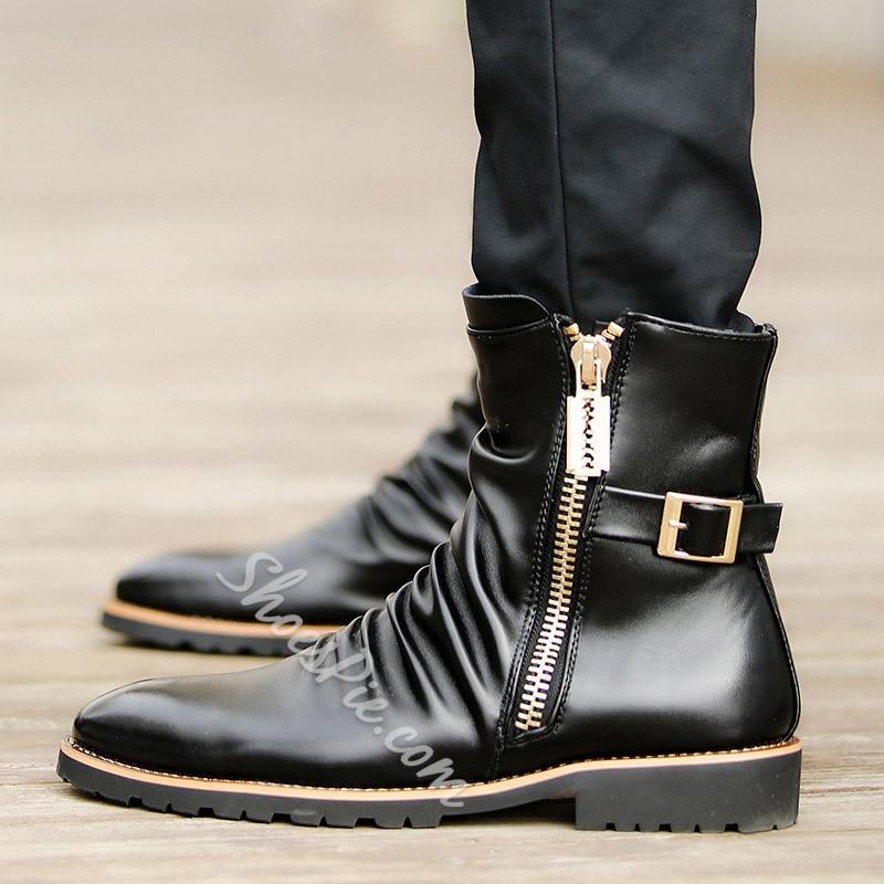 Shoespie Side Zipper Buckles Oxfords