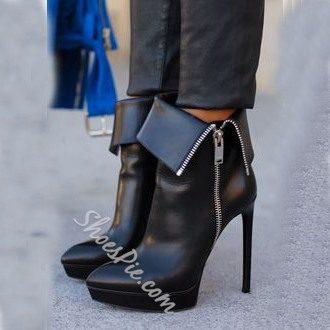 Shoespie Side Zipper Decoration Ankle Boots