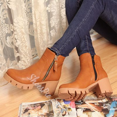 Shoespie Side Zipper Decoration Chunky Heel Ankle Boots