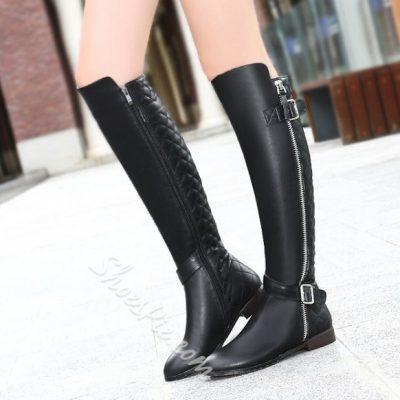 Shoespie Side Zipper Decoration Knee High Boots