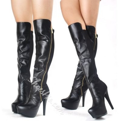 Shoespie Side Zipper Decoration Pointed-toe Martin Knee High Boots