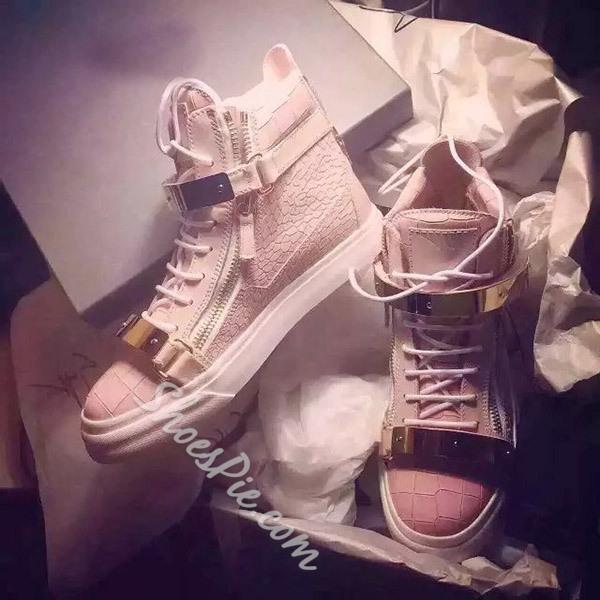 Shoespie Side Zipper Metallic Sneakers