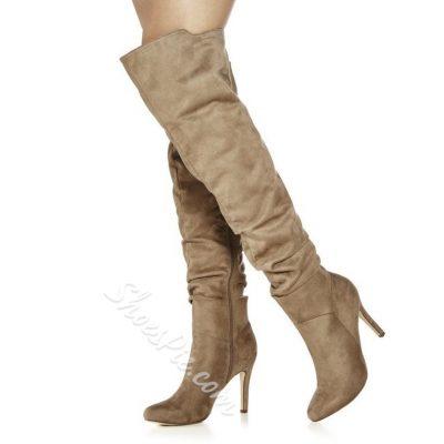 Shoespie Side Zipper Thigh High Boots