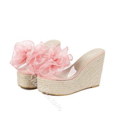 Shoespie Silk Flower Wedge Slippers