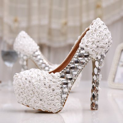 Shoespie Silk Flowers Rhinestone Bridal Shoes