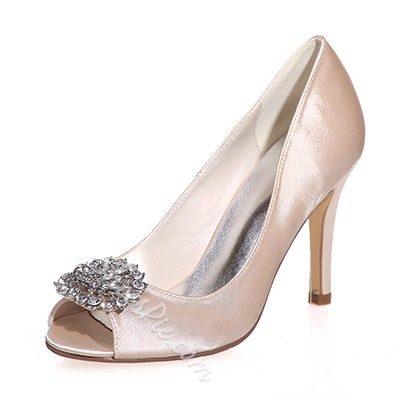 Shoespie Silk Rhinestone Peep-toe Stiletto Heels