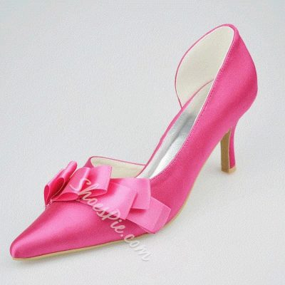Shoespie Silk Ribbon Pointed-toe Low Heels