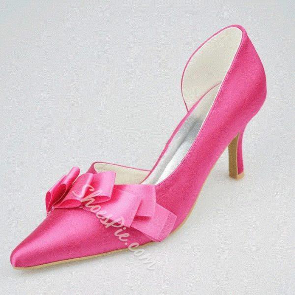 Shoespie Silk Ribbon Pointed-toe Low Heels