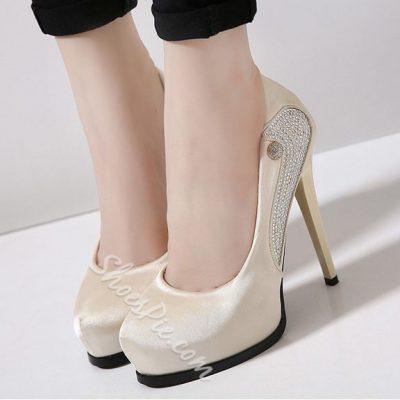 Shoespie Silk Round Toe Platform Heels