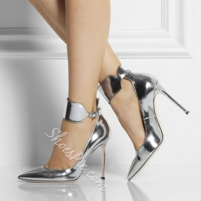 Shoespie Silver Ankle Wrap Stiletto Heels