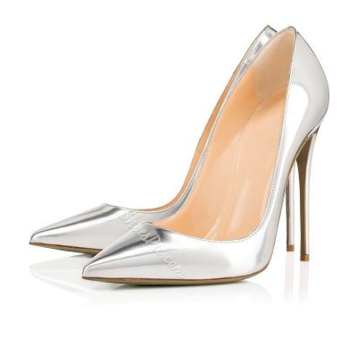 Shoespie Silver Patent Leather Stiletto Heels