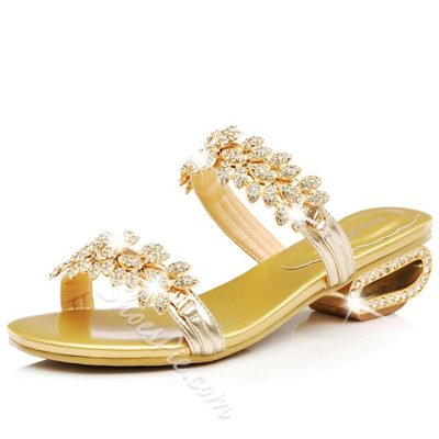 Shoespie Slip On Rhinestoen Sandal Slippers