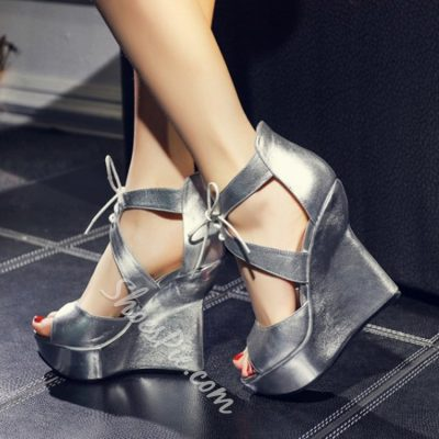 Shoespie Solid Color Lace Up Wedge Sandals