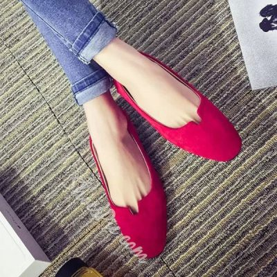 Shoespie Solid Color Suede Flats