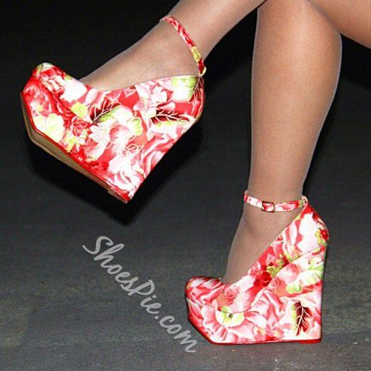 Shoespie Spring Pink Flower Wedge Heels