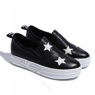 Shoespie Star Pattern Slip-on Loafers