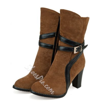 Shoespie Strap Buckle Nubuck Chunky Heel Boots