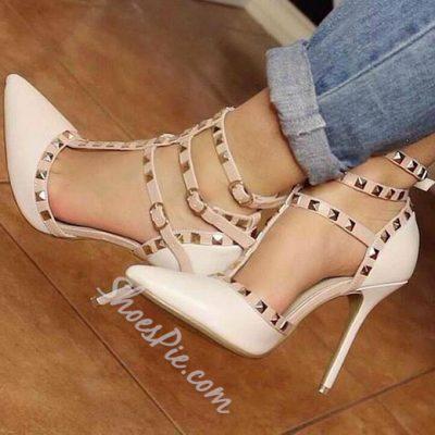 Shoespie Stylish Nude Rivets Stiletto Heels
