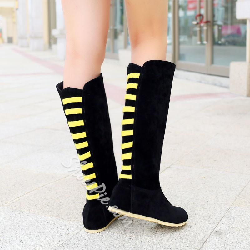 Shoespie Suede Back Colors Contrast Flat Boots
