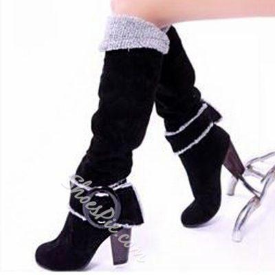 Shoespie Suede Buckles Knee Chunky Heel Knee High Boots