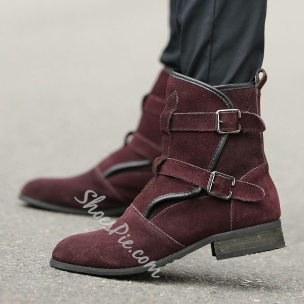 Shoespie Suede Buckles Men's Boots