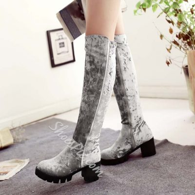 Shoespie Suede Chunky Heel Side Zipper Knee High Boots