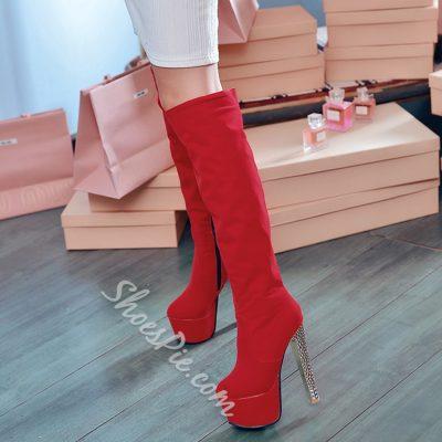Shoespie Suede Platform Knee High Boots