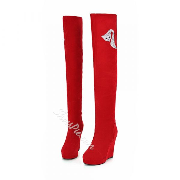 Shoespie Suede Rhinestone Decoration Wedge Thigh High Boots