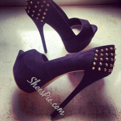Shoespie Suede Rivets Platform Heels