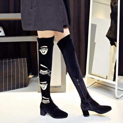Shoespie Suede Zippers Square Heel Knee High Boots