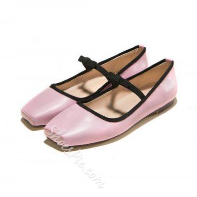 Shoespie Sweet Color Block Squre Toe Flats