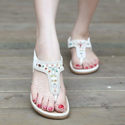 Shoespie Sweet Exiquite Colorful Rhinestones Thong Flat Sandals
