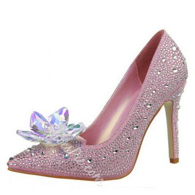 Shoespie Sweet Flower Appliqued Rhinestone Stiletto Heels