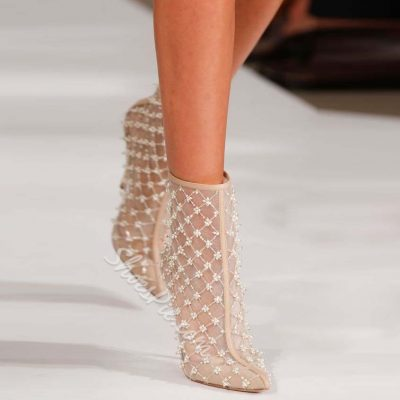 Shoespie Sweet Lace Flower Appliqued Stiletto Heel Ankle Boots