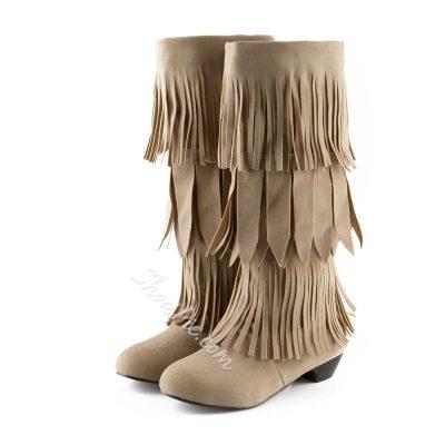 Shoespie Tassel Low Heel Knee High Boots
