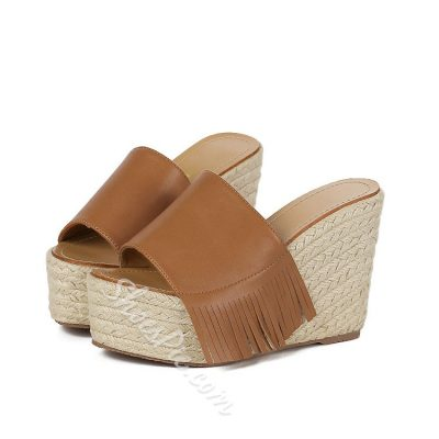 Shoespie Tassel Straw Wedge Heel Slippers