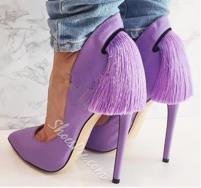 Shoespie Tassels Pointed-toe Stiletto Heels