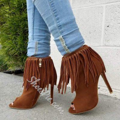 Shoespie Tassels Side Zipper Ankle Boots