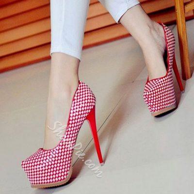 Shoespie Trendy Houndstooth Platform Heels