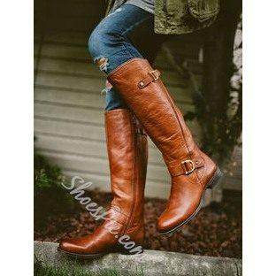 Shoespie Vintage Rivet Flat Knee High Boots
