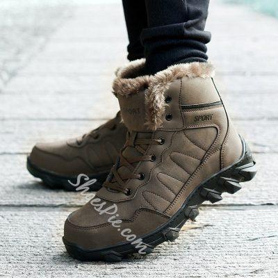 Shoespie Warm Lace Up Men's Boots