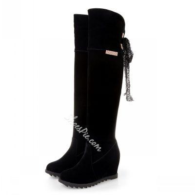 Shoespie Wedge Heel Knee High Boots