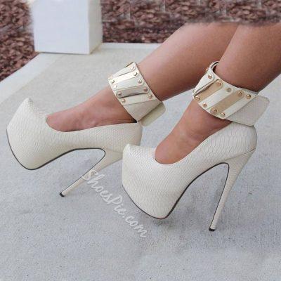 Shoespie White Ankle Wrap Platform Heels