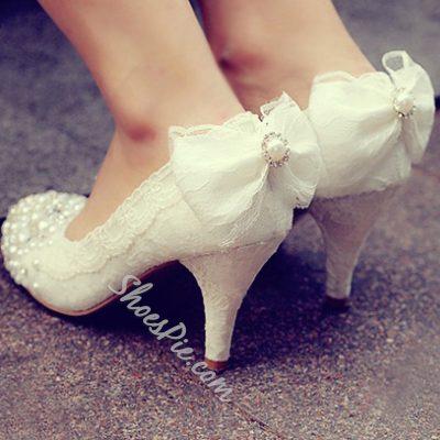 Shoespie White Lace Back Bowtie Bridal Shoes