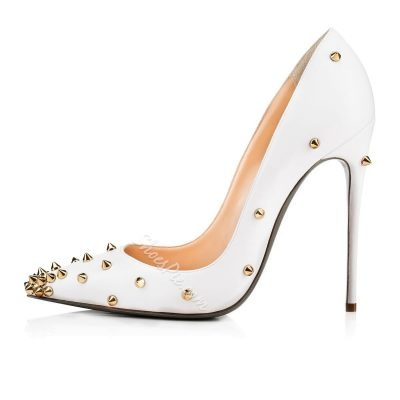 Shoespie White Rivets Pointed-toe Stiletto Heels